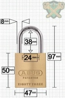 ABUS 83/45 Brass Padlock 38mm High Shackle