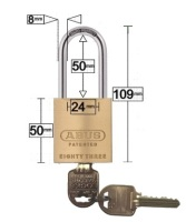 Restricted Ilco IP8 Key Abus Padlock 83/45 Extended 50mm Shackle