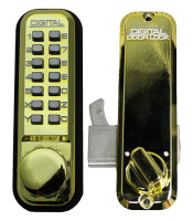 Lockey 2500 Digital Sliding Door Lock Bright Brass