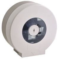 Lockable White Jumbo Toilet Roll Dispenser