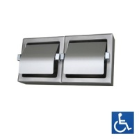 Hooded Satin Stainless Twin Toilet Roll Dispenser