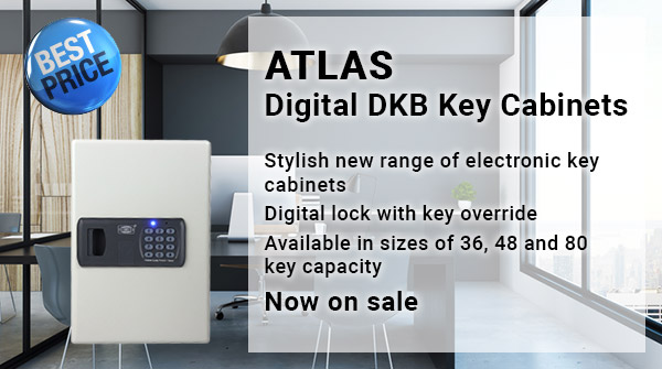 Atlas Digital DKB Key Cabinets. Stylish new range of electronic key cabinets with Digital lock and key override. Available in sizes of 36, 48 and 80 key capacity. Now on sale